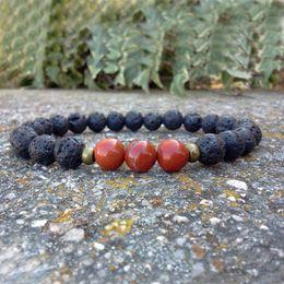 Wholesale Black Stretch Bracelets - SN0140 Red Jasper Bracelet Men Black Lava Stretch Bracelet Courage Men Red Jasper bracelet Supply for Seller