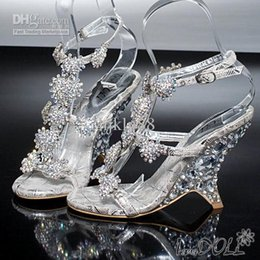 Wholesale Silver Beading Prom Shoes - Sparkling Dazzing High Heels Beading Peep Toe Prom Evening Party Dress Lady Bridal Wedding Shoes