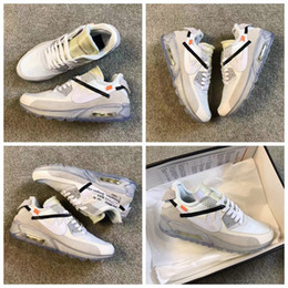 Wholesale Leather Men Shoe Casual Brands - 2017 New Brand White x Air 90 Ice 10X AA7293-100 Sports Running Shoes for Men Women M 90s Casual Sneakers Size 40-45 Free Shipping