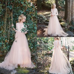 Wholesale Wedding Dress Back Hole - 2018 New Western Garden A Line Wedding Dresses Long Sleeves V Neck Country A Line Wedding Dresses Key Hole Back Lace Top Wedding Gowns