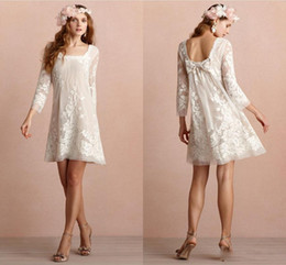 Wholesale Square Neckline White Dress - Mini Short Wedding Dresses Square Neckline Long Sleeves Backless Wedding Dress Appliqued Lace Beach Bridal Gowns