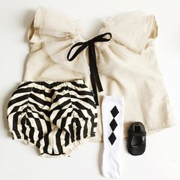 Wholesale Blouse Zebra Girls - 2016 Ins Hot baby girl infant toddler Summer Beige tulle tutu tops shirt blouse Lace lotus leaf collar zebra bloomers diaper covers shorts