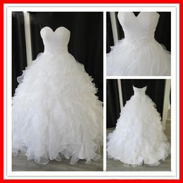 Wholesale Elegant Dress Real Sample - Custom Made Elegant Tiers Real Sample White Organza Sweetheart Ball Gown Chapel Empire Ruffles Beaded Wedding Dresses
