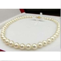 Wholesale Pearl Real Akoya - REAL BEAUTIFUL AAA+ 9-10 MM NATURAL AKOYA WHITE PEARL NECKLACE 18""