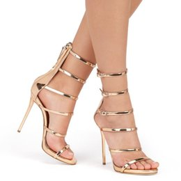 Wholesale Cover Up Mujer - Gold Patent Leather Platforms Gladiator Sandals Women 2016 New Shoes Woman High Heels Buckles Women Sandals Zapatos Mujer