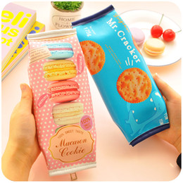 Wholesale Cracker Bag - Wholesale-Korean Creative Macaron Cracker School Pencil Case Cute PU Leather Pen Bag Kawaii Stationery Pouch Office School Supplies Zakka