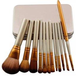Wholesale Naked Original - Original Naked 3 Professional brush 12pcs set brushes makeup golden for powder blusher eyeshadow brush with metal box free shipping
