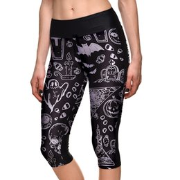 Wholesale Plus Size Capri Leggings - Hot Womens Fashion Printed black graffiti Capri Leggings Slim Cropped pants For Women Plus Size Skinny 3 4 Length Trousers S-4XL