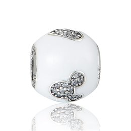 Wholesale Mouse Love - White charms love mouse original S925 sterling silver fits for pandora style charm bracelets free shipping aleCH623H9