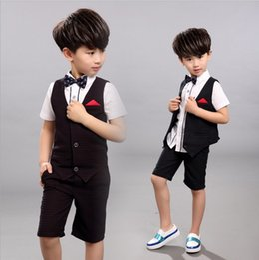Wholesale Toddler Boy Tuxedo Shorts - Summer Children Clothes Boys Set Dot Vest +Short Pants Suits For Wedding Toddler Kids Tuxedo Suit For 3-8T