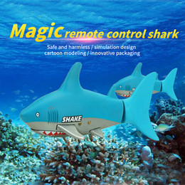 Wholesale Motor Fishing - Wholesale- Lovely Kids Baby RC Shark Fish Coke Can Radio Control RC Mini Electronic Shark Fish Boat Children Toy Gift 3CH 4 Way 2017