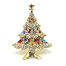 Wholesale High Christmas Tree - Zinc Alloy Gold Plated Colorful Crystal Rhinestone Tree Brooches Pins For Women Fashion High-end Elegant Christmas Tree Brooch