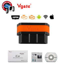 Wholesale Icar Wifi Vgate - Wholesale-2016 Newest Lowest Price Vgate WIFI iCar 2 ELM327 OBD2 Code Reader iCar2 WIFI Vgate for iOS iPhone iPad Android Free Shipping