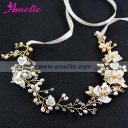 Wholesale Belt Headband Pearl - Free Shipping Delicate Fresh Water Ivory Pearl and Shell Flower Hair Vine Wedding Headband Bridal Dress Belt Accessories Wedding