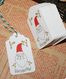 Wholesale Craft Santa - Santa trees Paper Tags With String DIY Craft Label Luggage Party Favor Christmas Decoration Hanging Ornaments For Home Navidad