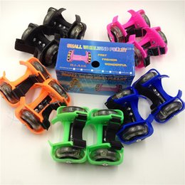Wholesale Skate Shoes Wheels - Children Scooter Kids Sporting Pulley Lighted Flashing Roller Wheels Heel Skate Rollers Skates Wheels Shoe Skate Roller 200pcs