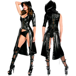 Wholesale Long Nightwear Dress - sexy pvc long gothic coat nightwear Evening Cocktail Party Prom fancy Dress 514 one size S-L