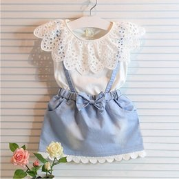 Wholesale Denim Braces - 2016 Girl Lace bowknot braces denims dresses Summer Lace cotton Sleeveless T-shirt Short skirt dress baby clothes Free Shipping