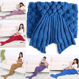 Wholesale Fishing Scarves - 2016 Fashion Fish Scale Scarf Crochet Mermaid Tail Blanket Comfortable Warmer Blankets Bed Sleeping Bags TV Sofa Costume Wrap Girl's Gift