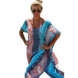 Wholesale Female Formula - Wholesale- New Style Beach Long Summer Dress 2017 Fashion Loose Robe Formula Women Dress V-neck Print wear Chiffon Sundress Female