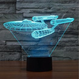 Wholesale New Touch Lamps - 2016 New Star Trek Ships 3D Visual LED Lights Colorful Touch Atmosphere Lights Gift Lamp