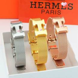 Wholesale Invisible Letter - Letter strap buckle titanium steel bracelet couples jewelry Christmas gifts