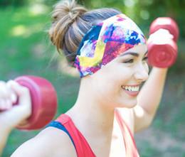 Wholesale Spandex Hair Bands - bohemian style sports headband Spandex comfort summer printing yoga jogging hair band free shipping