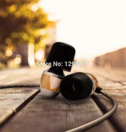 2019 micrófono mágico al por mayor Al por mayor-VJJB K4 bajo de madera en la oreja de ébano auricular bajo DIY Magic Sound con micrófono actualizar V1microphone auriculares para Iphone Samsung micrófono mágico al por mayor baratos