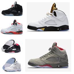 Wholesale Bel Sports - BASKET 5 white cement red blue suede women men camo basketball shoes Oreo bel cp metallic black white grape 5s sports shoes sneakers