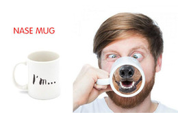 Wholesale Ceramic Bone China Mugs - Funny Mugs Nose Piggy Mug Creative Funny Nose Mug Doggy Bottom Ceramic Coffee Tea Cup Spoof Milk Mugs Office Drinkware