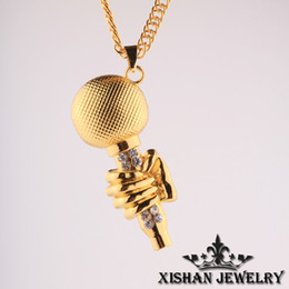 Wholesale Microphone Necklace Men - Free Shipping 2015 Bling Bling Hip Hop silver or gold plating rhinestone snake chain long microphone pendent necklace for men