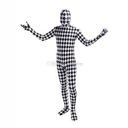 Corpo pieno catsuit bianco online-Costumi cosplay in lycra e nero e cosplay di Unitard Spandex Zentai Catsuit per Halloween
