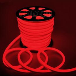 2019 luces de neón blancas rollo Luz de neón flexible de 10 m / rollo 110 V 220 V LED 2 cables con color rojo / azul / verde / RGB / blanco / amarillo 80led / m Envío gratuito luces de neón blancas rollo baratos