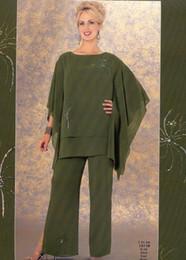 Wholesale Cheap Bridal Pant Suit - Olive Fashion Mother Pants Suits Cheap Plus Size Chiffon Evening Formal Wear Mother Groom women evening Bridal Trousers Suits