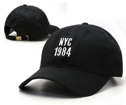 Wholesale Flat Caps Nyc - 2016 Hot fashion black NYC 1984 brand new Casquette leisure Men Women Outdoor Sports Cap Men's Female Designer Sun Hat Peaked Caps HF