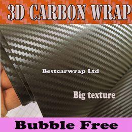 Wholesale free laptop covers - Economic 3D Big Texture Carbon Fibre vinyl Film Air Bubble Free Car styling Free shipping Carbon laptop covering skin 1.52x30m Roll