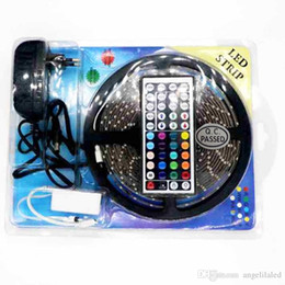 Wholesale Led Strip Light Pack - Blister Packing LED RGB 5050 Strip Light 150LED 5M DC12V Flexible Rope +44key RGB Remote Controller with +12V 3A Power Supply