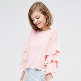 Wholesale Pink Ruffle Sweater - 2017081436 Solid Pink Sweet Women Sweater O-neck Butterfly Sleeve Ruffle Lady Tops Loose Casual Knitted Female Pullovers