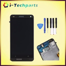 Wholesale M7 Lcd - LCD Display Digitizer Touch Screen Replacement Panel Assembly For HTC One M7 Screen Replacement Black White,Free DHL Shipping