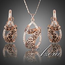 Orecchini a goccia azora online-All'ingrosso-AZORA placcato oro rosa cristalli austriaci goccia d'acqua con gli orecchini Leopard Riband e collana di gioielli set TG0194