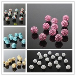 Wholesale Pave Beads Ball - Clay Paved Crystal Rhinestone Beads Shamballa Disco Ball 28 colors 6mm 8mm 10mm 12mm 14mm Stocks for DIY Jewelry Making Supplies