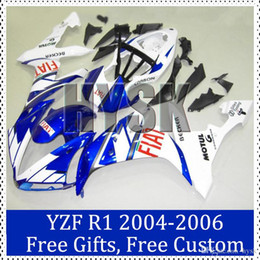 Wholesale Custom Painted R1 Motorcycle Kits - Fiat fairing kits for Yamaha YZF R1 2004 2005 2006 ABS plastic Cowling 2004-2006 YZF R1 Custom Painting Motorcycle Fairing brand new
