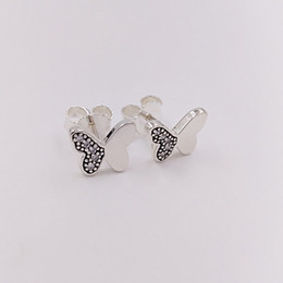 Wholesale Gold Plated Butterfly Earrings - Authentic 925 Sterling Silver Studs Silver Cz Butterfly Silver Stud Earrings Fits European Pandora Style Jewelry 290693CZ