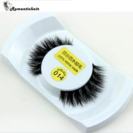 Wholesale Box Top Labels - Top Quality Private Label Natural Looking 3D Real Mink Fur Eye Lashes 1 pairs in 1 box free shipping N011 N014 N009 N008 N010