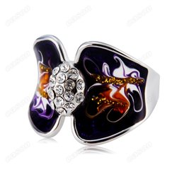 Wholesale Oil Painting Colours - Brand Cason New High Quality Art oil painting crystal ring for women silver plated free shipping purple colour RJ-0009