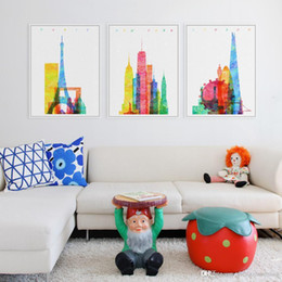 Wholesale Wall Poster New York - Original Watercolor World City Poster Print Hipster Home Abstract Wall Art Pop London New York Paris Decor Canvas Painting Gifts