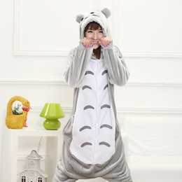Wholesale Totoro Dress - New Hot Sale Lovely Cheap Kigurumi Pajamas Anime Gray Totoro Cosplay Costume Unisex Adult Onesie Dress Sleepwear Halloween S M L XL