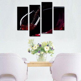 Wholesale Modern Wine Wall Art Paintings - 4 Picture Combination Wall Art Painting A Cup Of Wine Pictures Prints On Canvas Picture - For Home Modern Decor Or As Gift