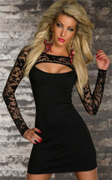 Wholesale Clubwear Party Mini Dress Lace - Evening Gowns Sleeves Sexy Lady Womens Clubwear Cocktail Party Mini Long Sleeve Elastic Evening Dresses Lace Nightclub Package Hip Dresses