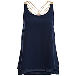 Wholesale Wholesale High Street Clothing - Wholesale-Fashion 2016 High Street Clothing Brand Female New Korean Style Tops Chain Strap Chiffon Double Layer Sexy Camisole Camis